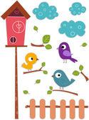 Bird with Birdhouse Sticker Designs — Stock Photo