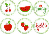 Red Fruits Sticker Designs — Stock Photo