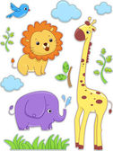 Safari Animals Sticker Designs — Stock Photo