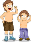Strong Little Boy Siblings with Arms Flexed — Stock Photo