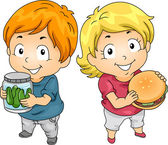 Kids with Jar of Pickles and Hambuger — Foto de Stock