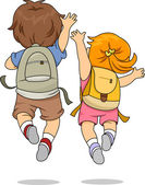 Back View of Kids wearing a Backpack Jumping — Foto Stock