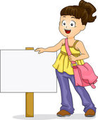 Little Kid Girl with Signboard — Stock Photo