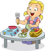 Little Kid Girl Playing with Cooking Toys — Stock Photo