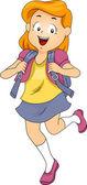 Jongen meisje student dragen een rugzak — Stockfoto