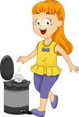 Kid Girl Throwing Garbage in Trash Bin — Stock Photo