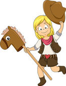 Kid Cowgirl with Toy Horse — Stock Photo