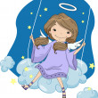 Stock Photo: Girl Angel in Cloud Swing