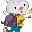 Jumping Rabbit Student wtih Backpack — Stockfoto