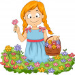 Little Kid Girl Picking Flowers in Garden — Stock Photo