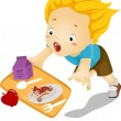 Kid Boy Tumbles Down and Drops Food — Stock Photo