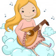 Stock Photo: Girl Angel Playing Lute