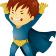 Stock Photo: Little Kid Boy Superhero Lifting Something