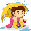 Little Kid Girl Sitting Under the Rain with Umbrella — Стоковая фотография