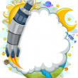 Outer Space Rocket Launch with Cloud Frame Background — Stock Photo