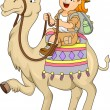 Stock Photo: Little Kid Girl Riding a Camel