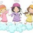 Stock Photo: Girl Angels with Head Scarves Standing on Clouds