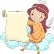 Girl Angel holding a Blank Scroll — Stockfoto