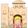 Little Kid Girl in a Cardboard Castle — Stock Photo