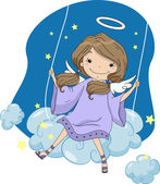 Anjo de menina em um balanço de nuvem — Foto Stock