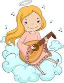 Anjo menina tocando alaúde — Foto Stock