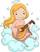 Girl Angel Playing Lute — Foto Stock