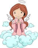 Anjo menina orando — Foto Stock
