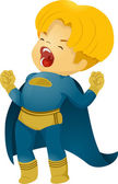 Shouting Little Kid Boy Superhero — Stock Photo