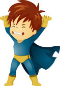 Little Kid Boy Superhero Lifting Something — Stock Photo