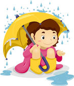 Little Kid Girl Sitting Under the Rain with Umbrella — Stock Photo