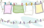 Hanging Blankets on Clothesline — Stock Photo