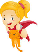Little Kid Girl Superhero Rescue a Cat — Stock Photo