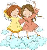 Irmãs de anjo segurando sua auréola — Foto Stock