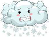 Illustration of Shivering Cloud Mascot with Snowflakes — Stock Photo