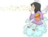 Estrelas sopro de menina anjo — Foto Stock