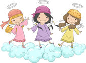 Girl Angels with Head Scarves Standing on Clouds — Stock Photo