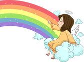 Anjo de menina sentada na nuvem com arco-íris — Foto Stock