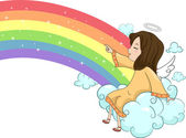 Girl Angel Sitting on Cloud with a Rainbow — Stock Photo