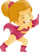 Little Kid Girl Superhero Pushing Something — Stock Photo