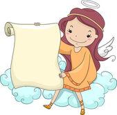 Anjo menina segurando um pergaminho em branco — Foto Stock