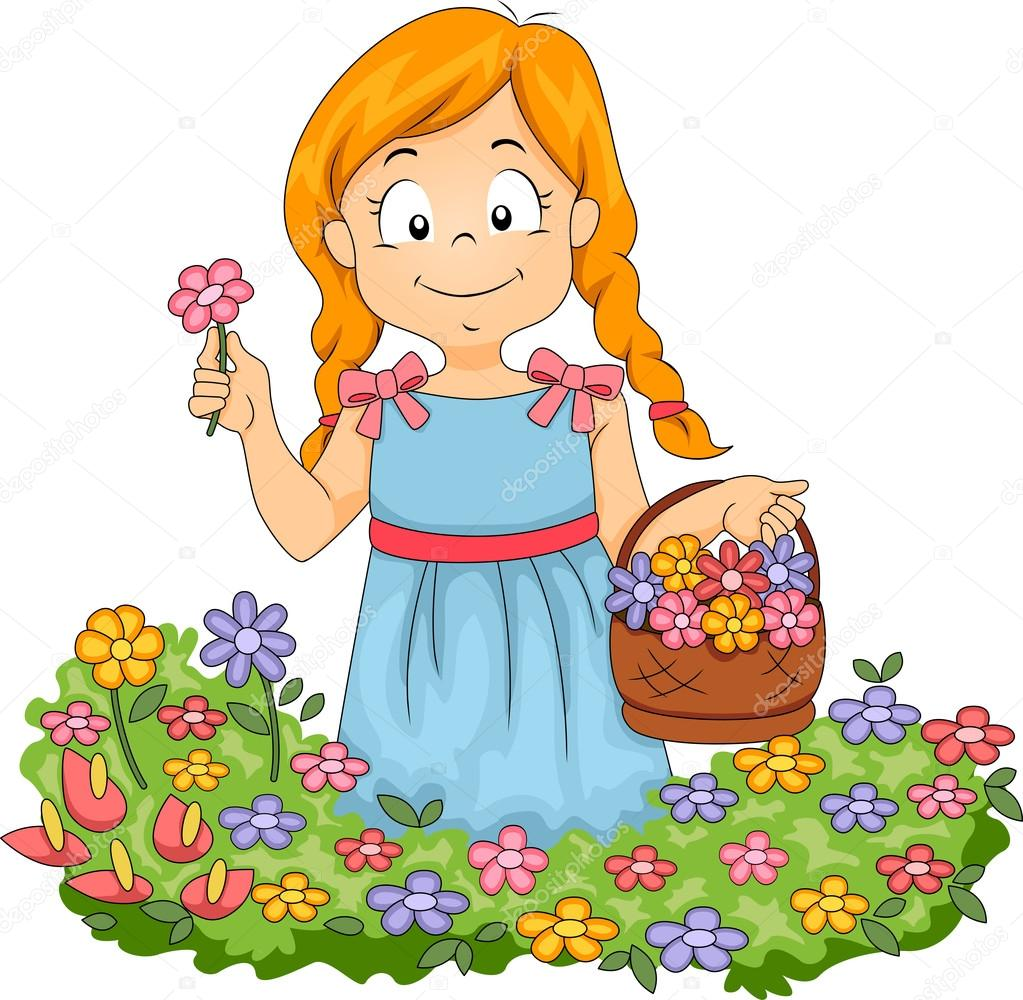 clipart girl holding flowers - photo #33
