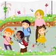 Stickman Kids School Trip at Butterfly Garden — Stock Photo