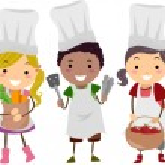 Illustration of Stickman Kids as Little Chefs — Stock Photo