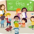 Stock Photo: StickmKids with Pets in Classroom