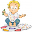 Toddler Boy Drawing Doodles with Crayons — Stock Photo