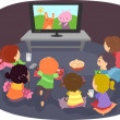 Stock Photo: StickmKids Watching Cartoons