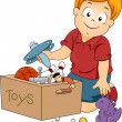 Stock Photo: Kid Boy Storing Toys
