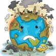 Stock Photo: Crying Earth Due to Pollution