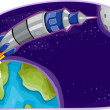 Rocket in Outer Space — Stock Photo