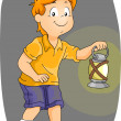 Stock Photo: Boy Carrying Kerosene Lamp